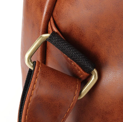 HoldMe™ Brown Leather Women Backpack - Office/School/Travel Bookbag handle is durable and firm.