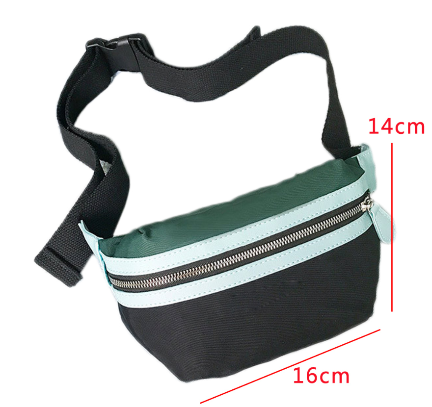 SyWear™ Women Small Canvas Waist Crossbody Phone Black & Green Bag