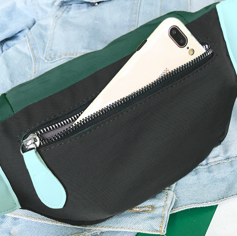 SyWear™ Women Small Canvas Waist Crossbody Phone Black & Green Bag displayed on a jeans jacket rear pocket