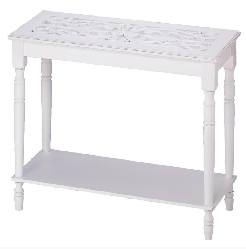 ArtTime™ White Carved Top Hallway Console Sofa Entryway Table