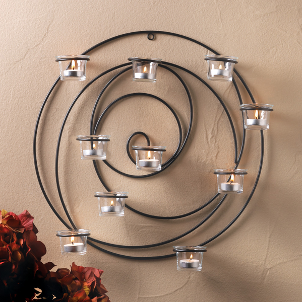 CodeLight™ Hypnotic Unique Candle Wall Sconce with Glass Tealight Candles Holder