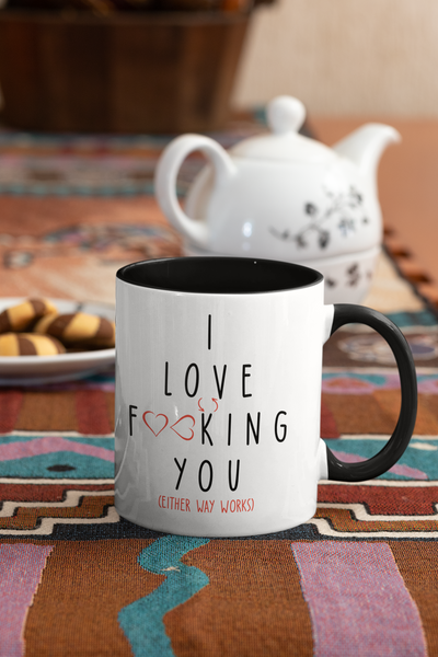 I Love You Coffee Mug, Valentines Day Anniversary Gift Mugs, Partner Gifts For Girlfriend / Boyfriend / Husband / Wife, Two-Tone