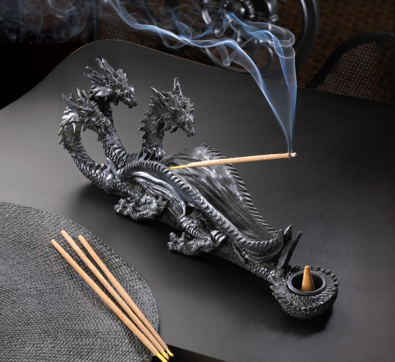 Triple-Head Dragon Decorative Incense Stick Burner & Cone Holder