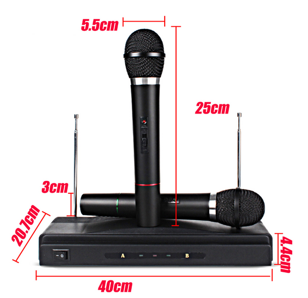 MicMe™ Karaoke Wireless Microphone System Dual Handheld Mic Cordless Receiver