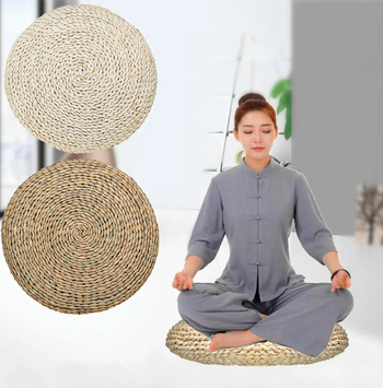 Two Round Natural Meditation cushions 40 x 40cm - brown and white on the left side and a women using it for meditation on the right.