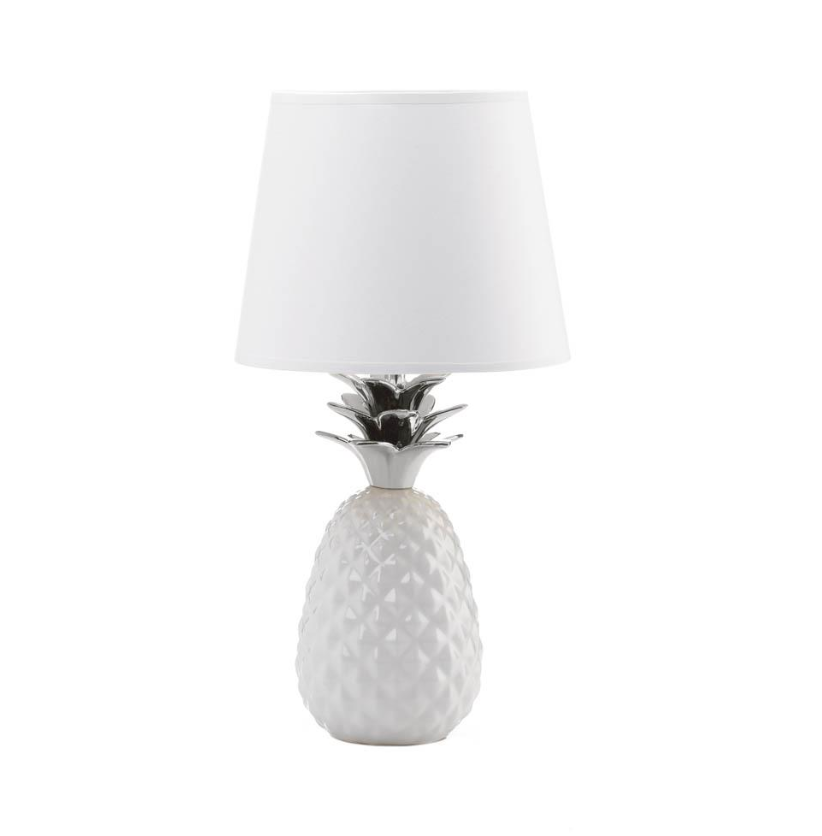 CodeLight™ Unique White Silver Topped Pineapple Decorative Shade Table Lamp