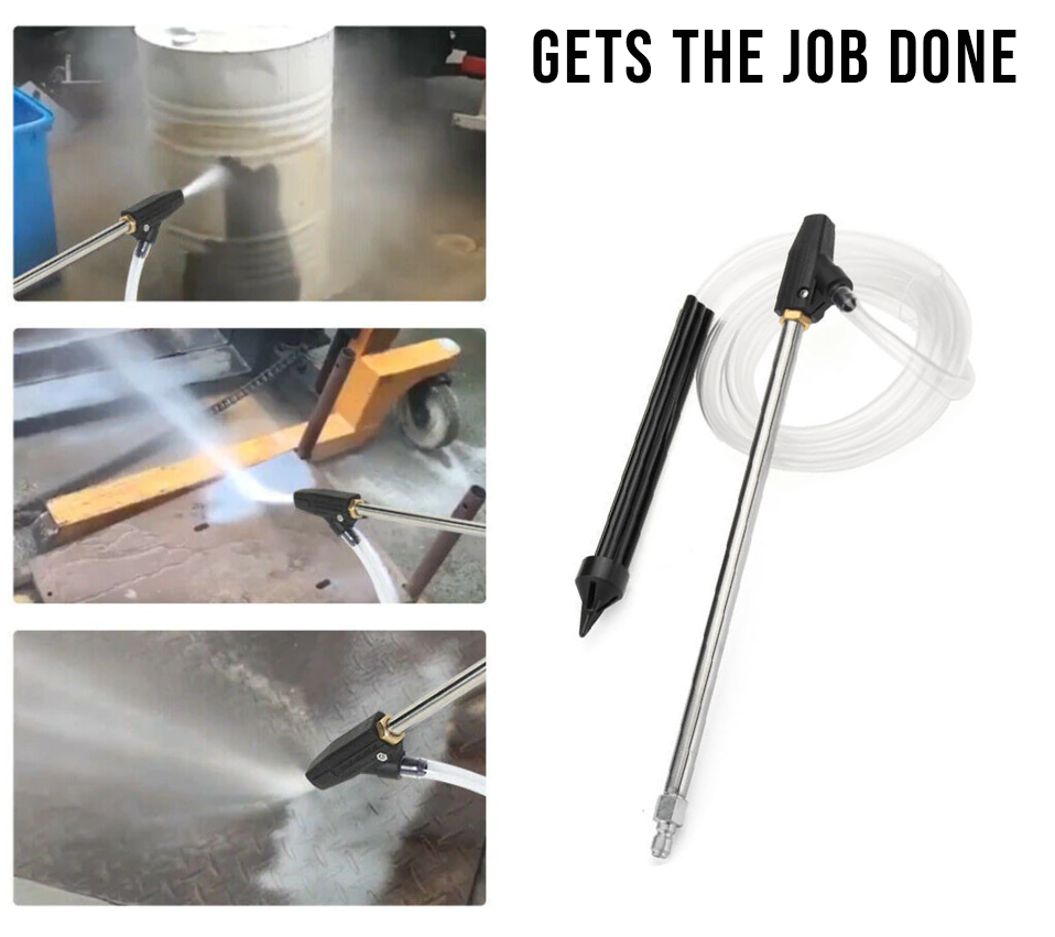 Sand/Wet Blasting Pressure Washer Blasting Nozzle Gun with Adapter shown in use. It gets the job done.