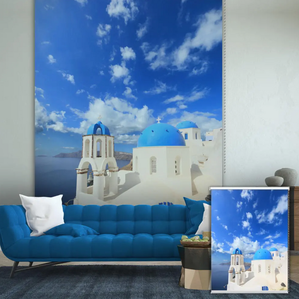 Beautiful ArtTime™ Decor Wall Art Prints Background Roller Shutters Window Blind Curtain containing a photo of Santorini displayed on the wall behind a modern marine-blue sofa