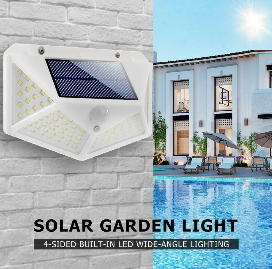 CodeLight™ 100 LED Outdoor Wall Solar Powered Security Pathway Light 2-Pack is perfect for white and light-color facades.
