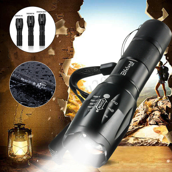 TorchX™ Black Light Rugged Zoom Focus Waterproof Tactical LED Flashlight