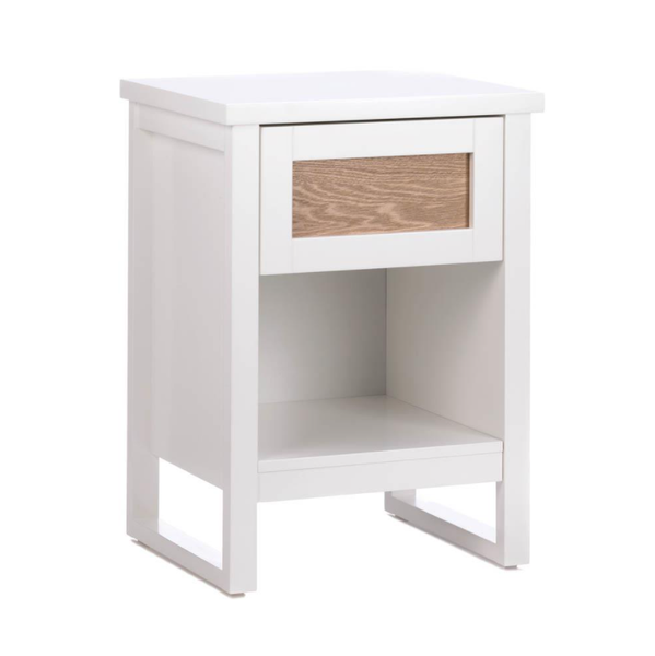 Unique Universal Wood Accent White Side Table with Drawer