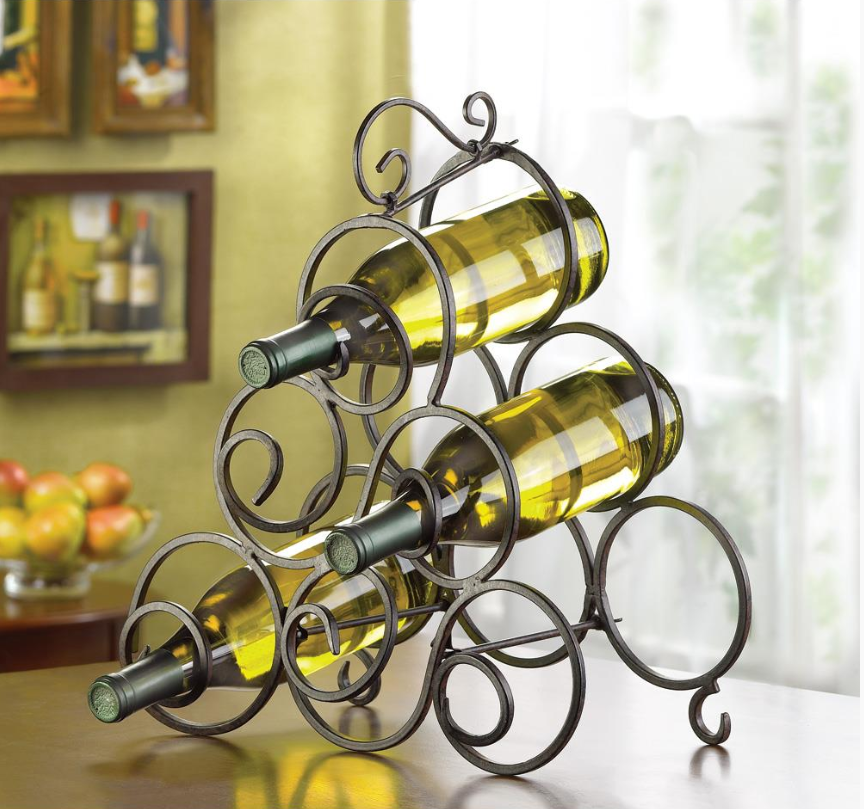 HoldMe™ Metal Countertop/Floor Wrought Iron Wine Bottle Holder Rack displayed on a countertop