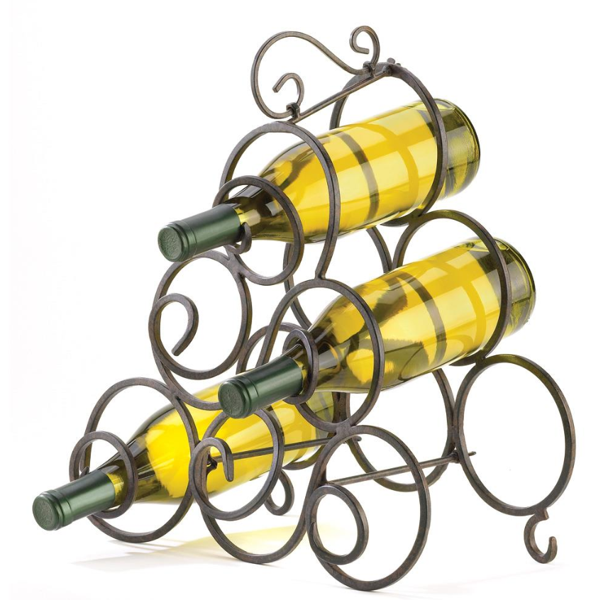 HoldMe™ Metal Countertop/Floor Wrought Iron Wine Bottle Holder Rack displayed on top of the white background