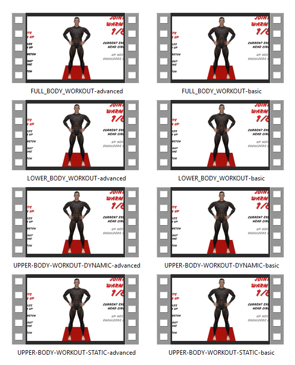 6PAC™ Home Gym Bodyweight Full Body Exercise Workout Plan includes 8 follow-along videos