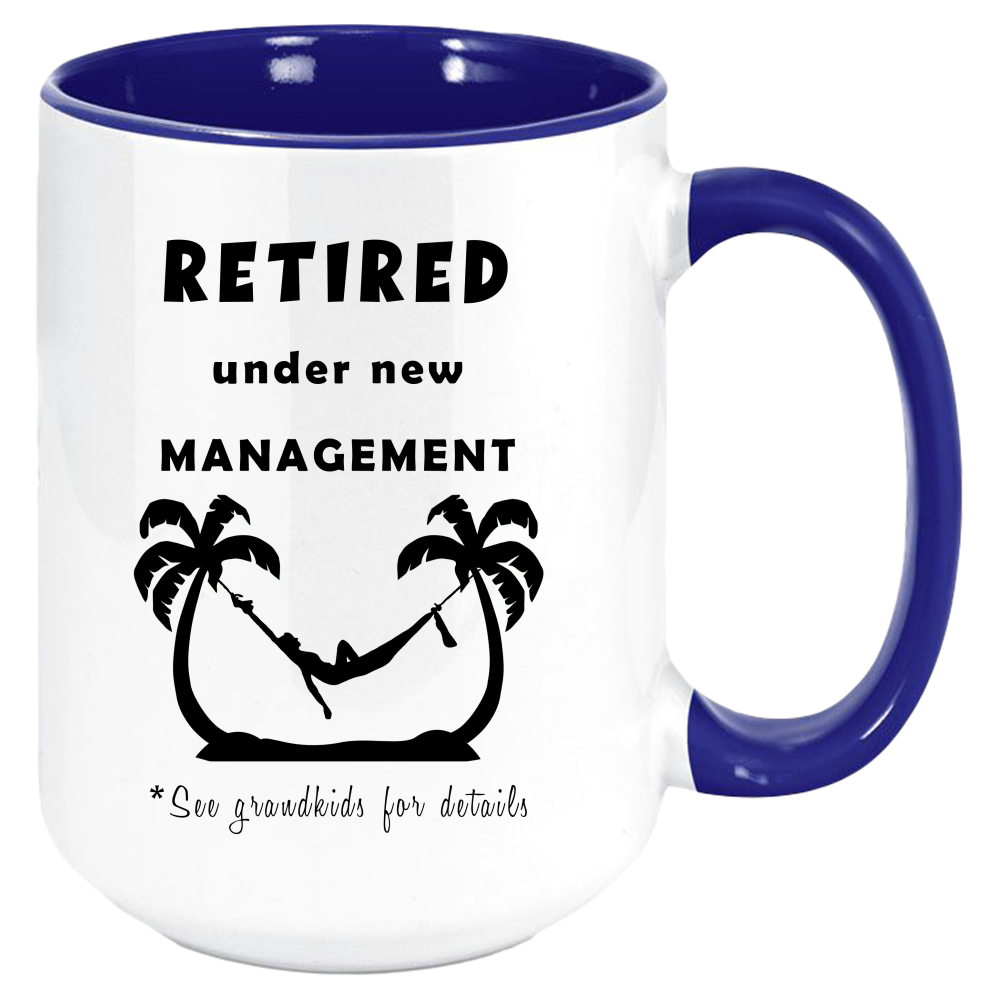 Retired Under New Management (Grandkids) Coffee Mug - Retirement Mugs For Women, Funny Thoughtful Retiring Gift, Two-Tone Color 11oz