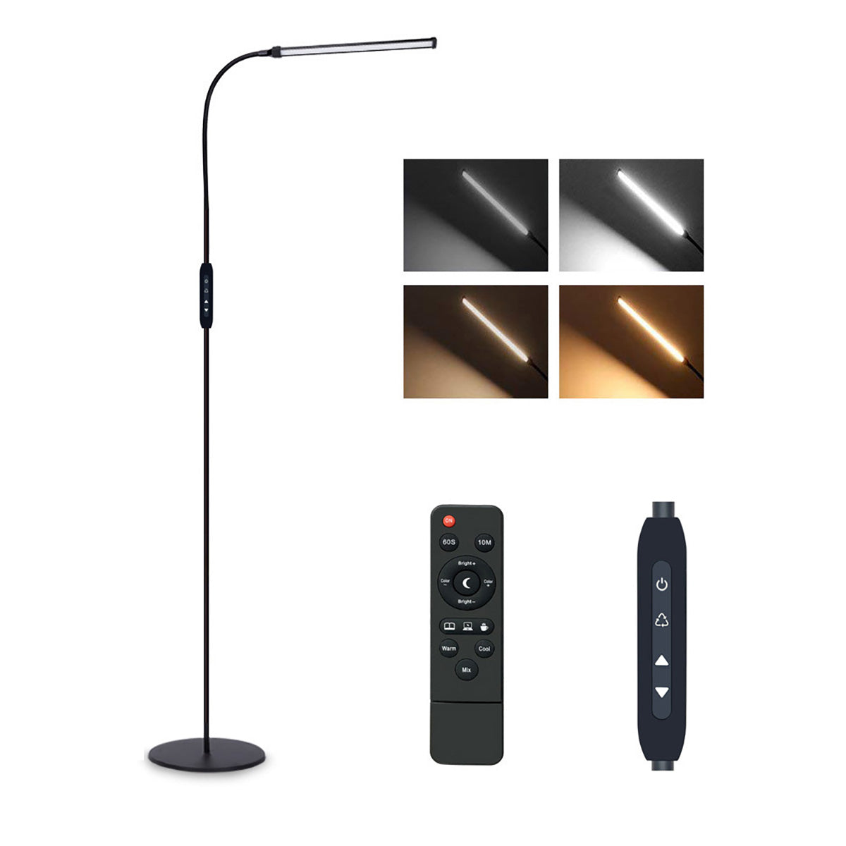 iLamp™ Tall Dimmable Adjustable Gooseneck LED Reading Modern Floor Lamp