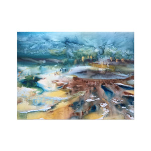 Lagoon Between Mountains | Famous Abstract Art Prints | MGallery, Style your spaces with Famous Abstract Art Prints. Buy Colourful Watercolour Art Prints UK from MGallery. Get Inspired With Amazing UK Art! -mgallery