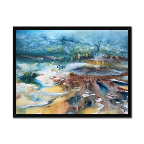 Lagoon Between Mountains | Abstract Art Artworks | MGallery, Purchase High Quality Art Prints UK from MGallery. Created your own gallery wall with our unique selection of Modern Abstract Art Gallery London.-mgallery