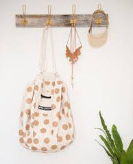 Play Pouch is the perfect way to store kids' toy - Glitter Gold Dots Printed Play Pouch shown