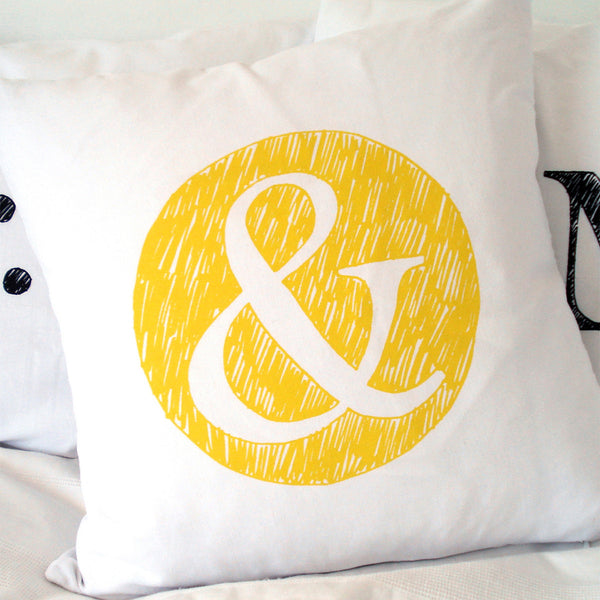 The Art Room '&' Decorative Cushion Cover - Yellow