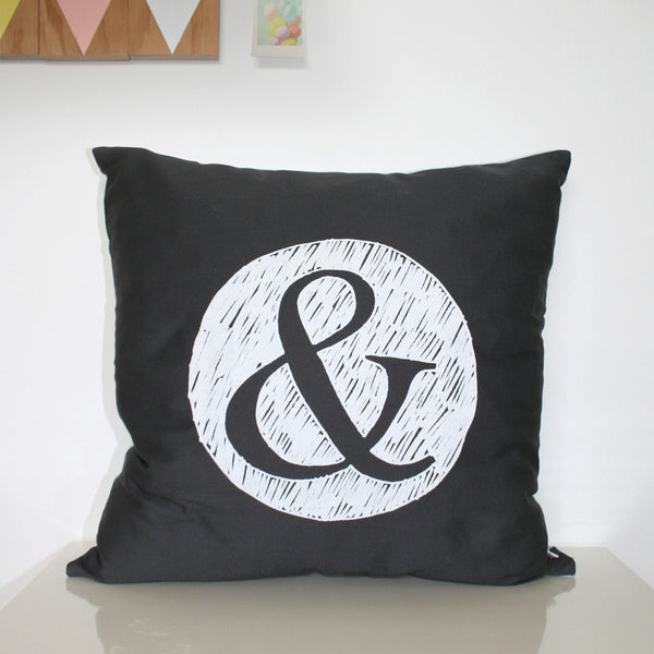 The Art Room '&' Decorative Cushion Cover - Charcoal