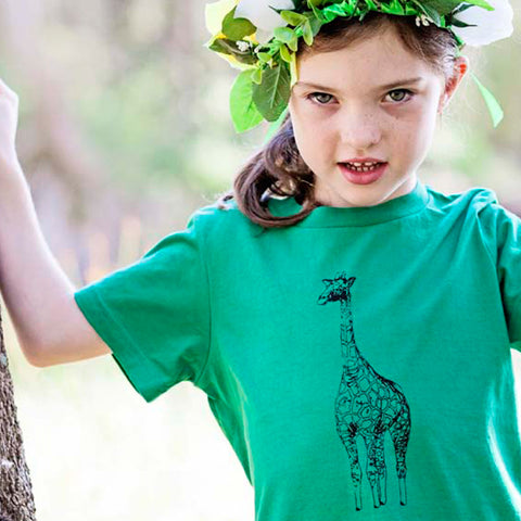 Giraffe Print Kids T Shirt in Green by Elephant & Bird