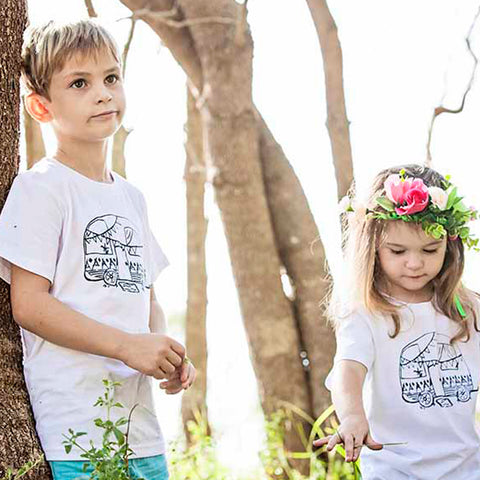 Gypsy Camper Kids T Shirt Elephant & Bird