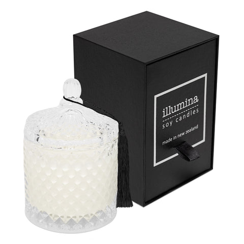 Lidded Crystal Candle with Tassel by Illumina
