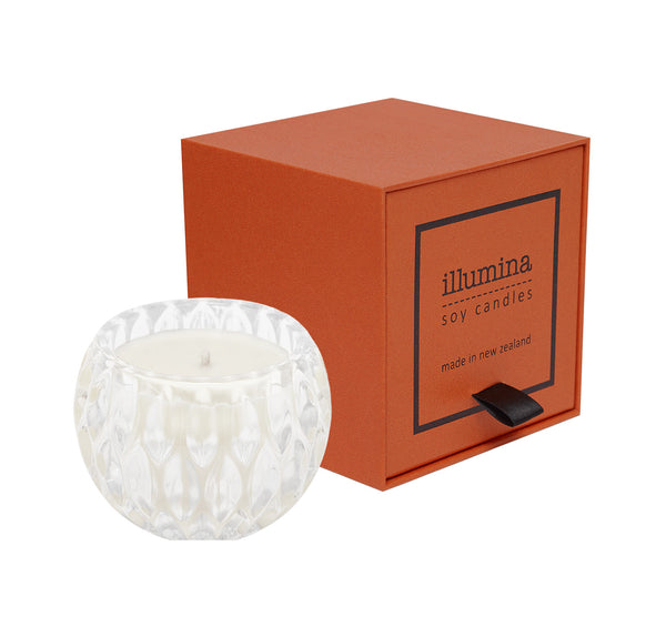 Diamond Cut Crystal Candle with Orange Box