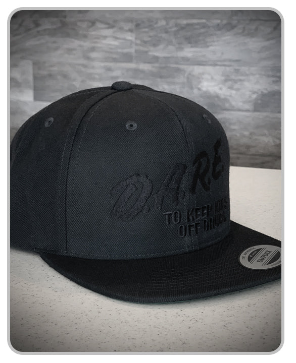 (BOGO) - D.A.R.E Yupong Classic Snapback Hat - Murdered Out