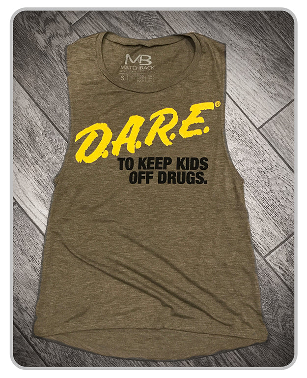 Discontinued - 50% off  - D.A.R.E. x MatchBack Womens Muscle Tank - OD Green