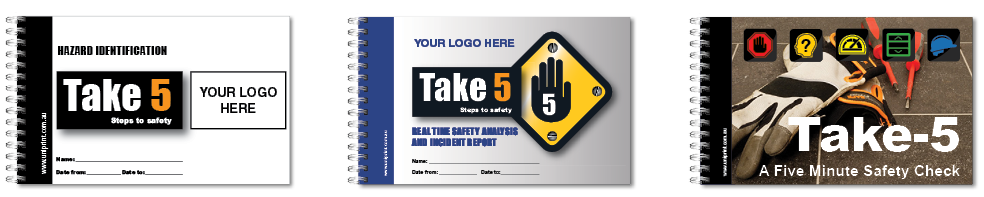 Custom take 5 book, hazard reporting book, risk assessment checklist