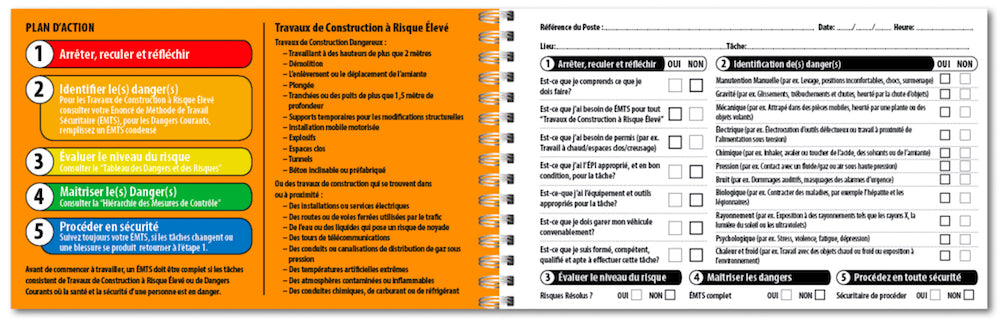 french safety checklist, take 5 safety book in french