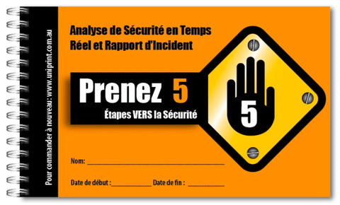 french take 5 safety book, safety checklist in french