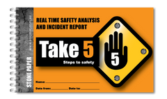 custom take 5 safety book, waterproof safety book