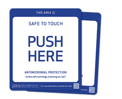 Antimicrobial Safe to Touch (push here) door decal (2 per pack)