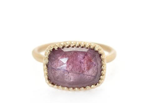 Picot Ring, 18K yellow gold with rose cut sapphire