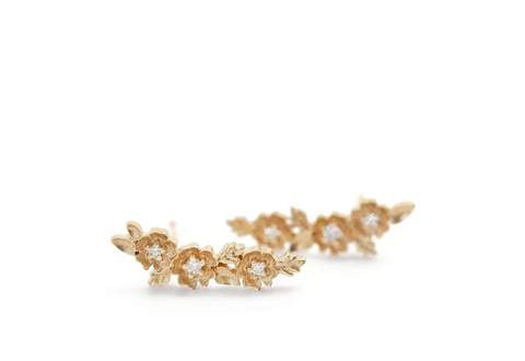 Buttercup Crescent Studs, 18K yellow gold and diamond flower