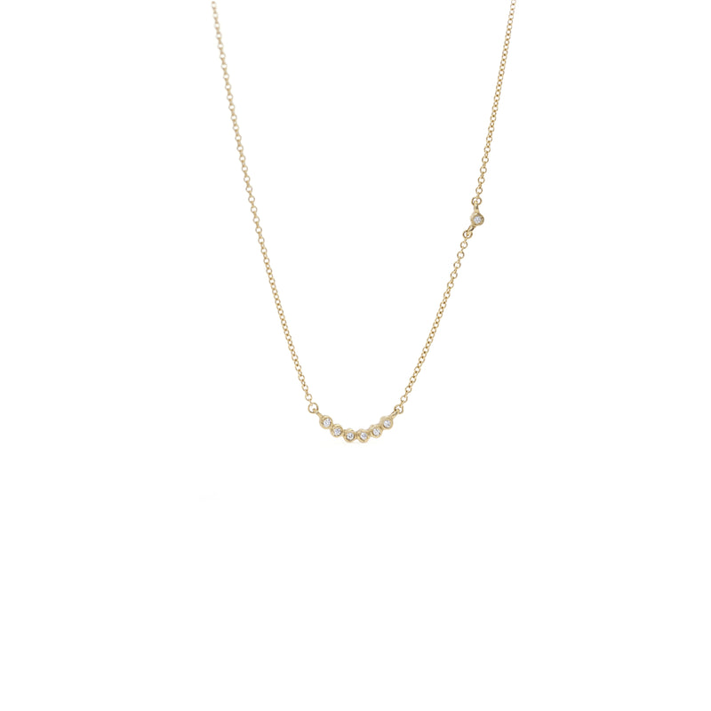 Tiny Bezel 7-Stone Crescent Necklace
