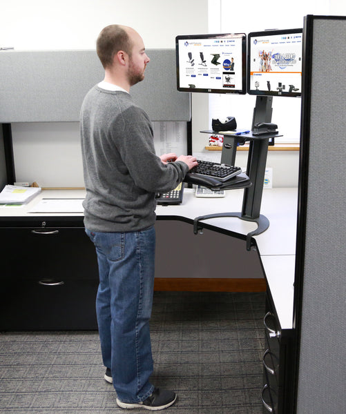Health Postures Sit-Stand 6350 Go Dual Monitor Workstation