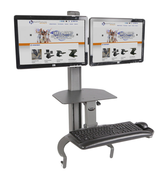 Health Postures 6350 Taskmate GO Sit Stand Dual Monitor Workstation 4539-Free Shipping - ergoKomfort