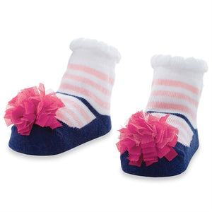 NAVY AND PINK STRIPE SOCKS (0-12 MONTHS)