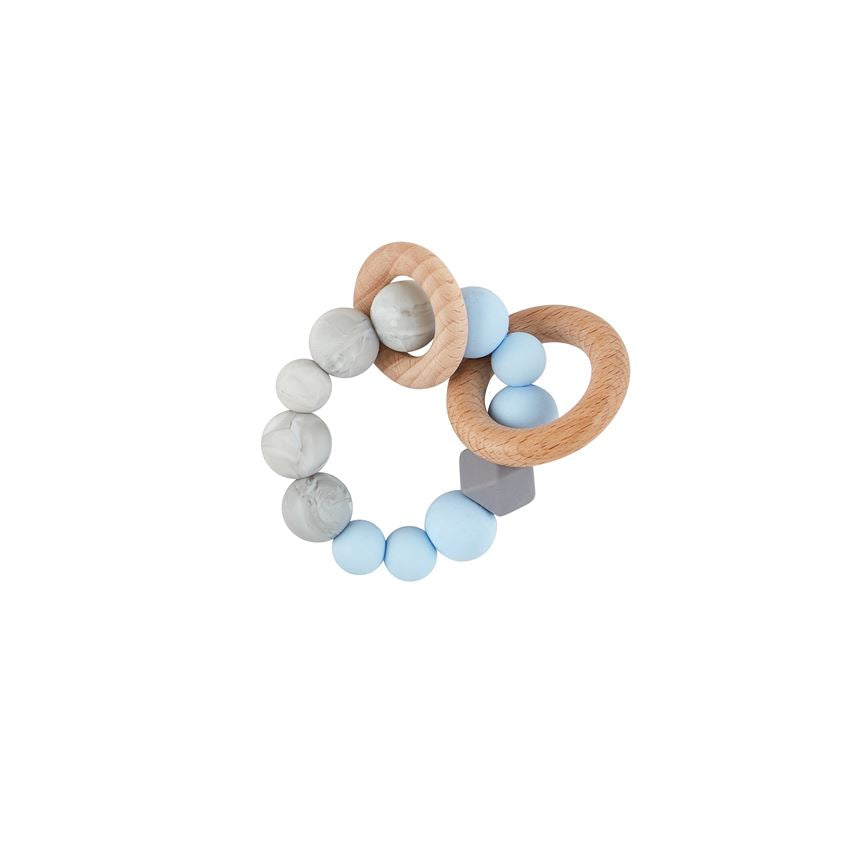 SILICONE AND WOOD BLUE TEETHING RING