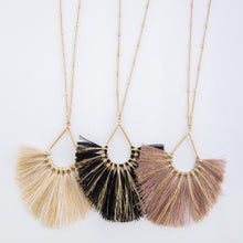 Load image into Gallery viewer, Long Metallic Stripe Fringe Tassel Teardrop Pendant Necklace