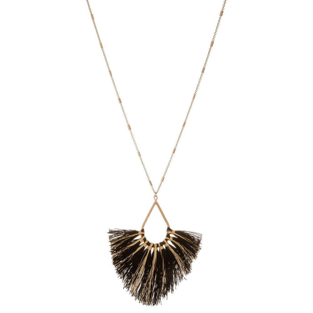 Long Metallic Stripe Fringe Tassel Teardrop Pendant Necklace