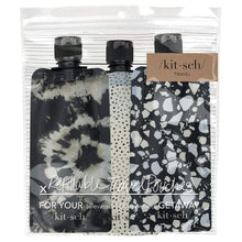Load image into Gallery viewer, Refillable Travel Pouches 3pc Set - Black & Ivory