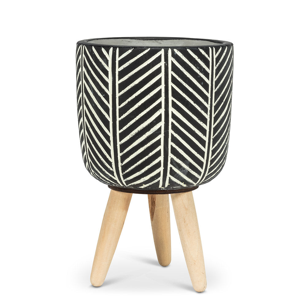 Large Herringbone Tripod Planter