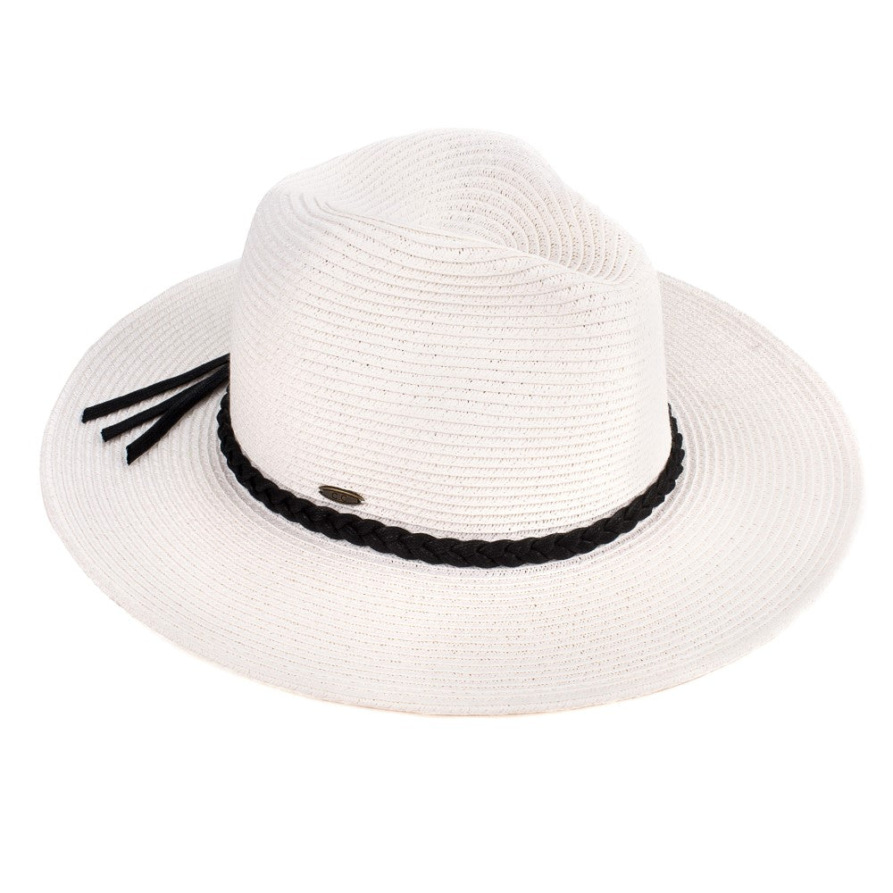 C.C Wide Brim Hat With Faux Leather Tassel Band - White