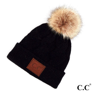 C.C Black Geometric Cable Knit Faux Fur Pom Beanie