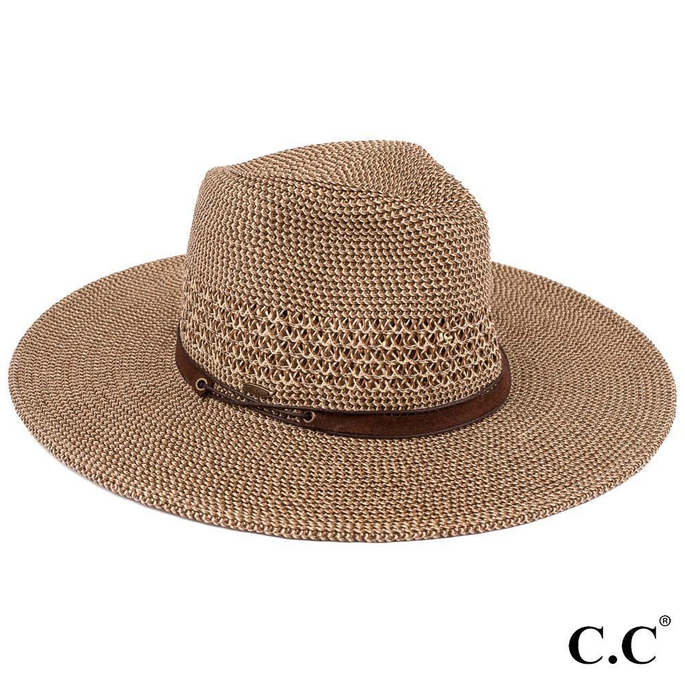 C.C Paper Straw Wide Brim Panama Hat With Faux Leather String Band - Brown